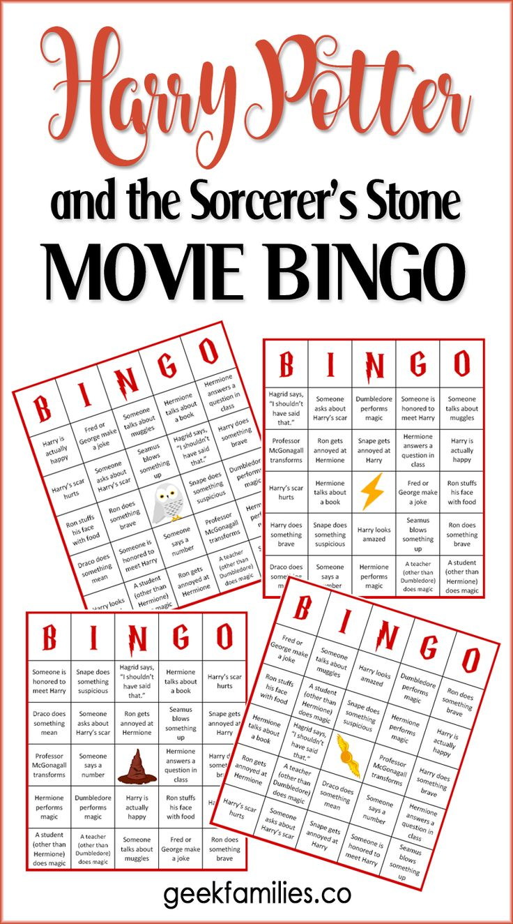 Harry Potter and the Sorcerer's Stone BINGO