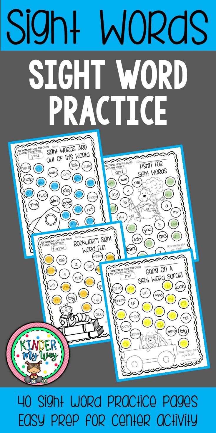 This Sight Words Kindergarten Packet contains 40 pages of fun, engaging sight word practice using a bingo dauber. This packet is perfect for sight word review, sight word recognition and sight word fluency.