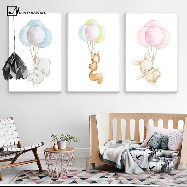 Canvas Posters Baby Dieren Kinderkamer Decoratie 20x25 Inch Cartoon Posters En Prints Moderne Kawai Kind Schilderij Kinderkamer Decoratie Babykamer Decoratie