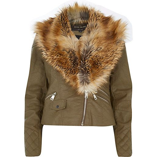 Khaki faux fur collar biker jacket £65 #riverisland