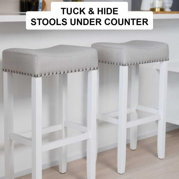 Nathan James Hylie 29 In Gray Fabric Cushion White Finish Nailhead Wood Pub Height Counter Bar Stool 21401 The Home Depot In 2021 Kitchen Counter Bar Stools White Kitchen Bar Stools Bar