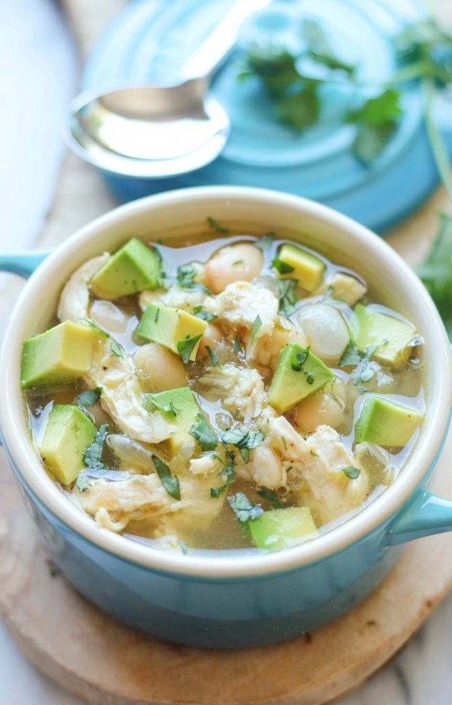 5-Ingredient White Chicken Chili by Damn Delicious. It takes just five ingredients and it comes together in fifteen minutes. Really, all you need is chicken broth, chicken, beans, salsa verde and cumin. That's it! From there, you can add some fun toppings like fresh avocado and sour cream but either way, you'll be so cozy with a piping hot, steaming bowl of this chili. You'll also be able to feed an army with this so you'll be well fed for a couple of nights!