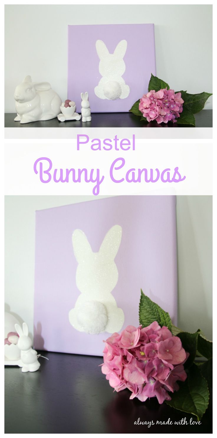 This Pastel Bunny Canvas is simple, yet effective and is the perfect piece of Easter décor because it can be customized to fit in with any colour palate.