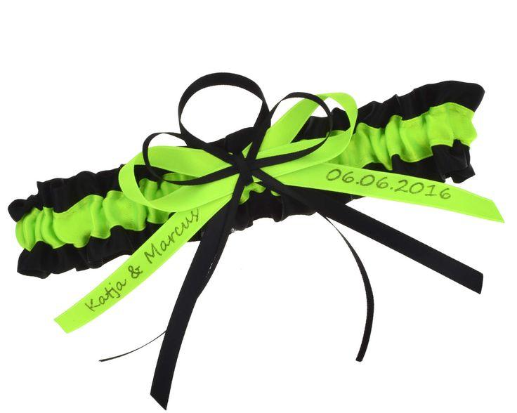 strumpfband-neongrün-schwarz