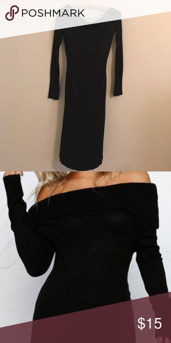 Bebe Black Off Shoulder Long Sleeve Sweater Dress Bebe Drop shoulder Sweater Dress. Form Fitting. Super comfortable. Size M/L bebe Dresses Mini
