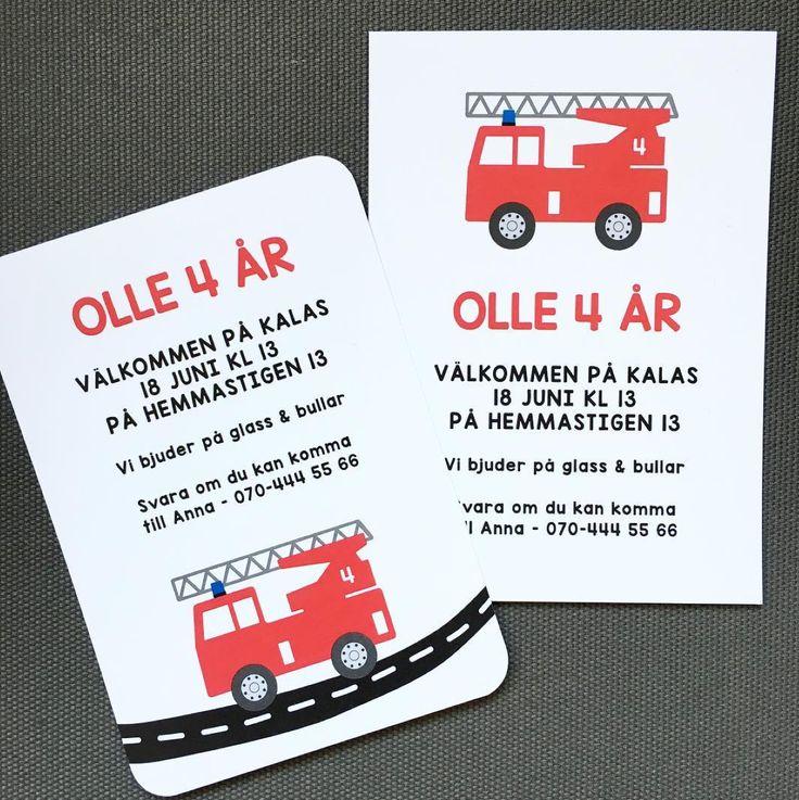 Brandbil - inbjudan, inbjudningskort, kalasinbjudan- Finns även med polisbil. www.annagorandesign.se