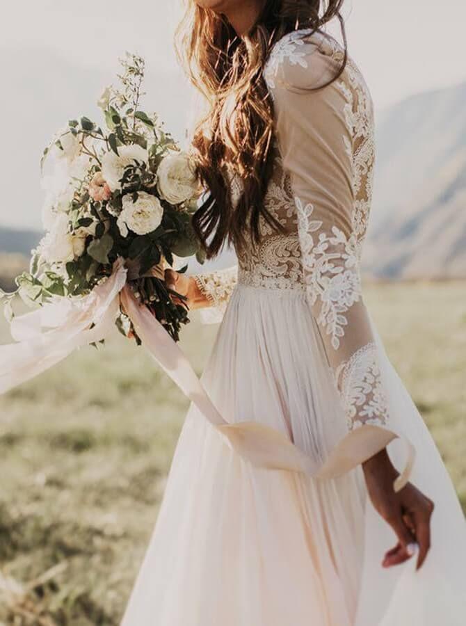 7eba7dd73b117 Long Sleeve Rustic Weding Dresses Lace Appliqued Ivory Beach Wedding Dress    SheerGirl