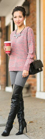 Cozy Coffee :: Chunky Sweater & Comfy Boots by Wendy's Lookbook