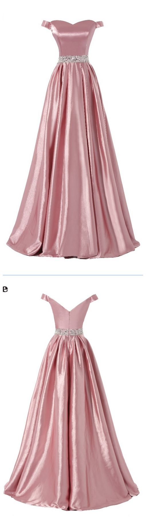 Pink Stretch Satin Beaded Waist Evening Dresses Sexy Real Made Cheap Prom Party Gown
