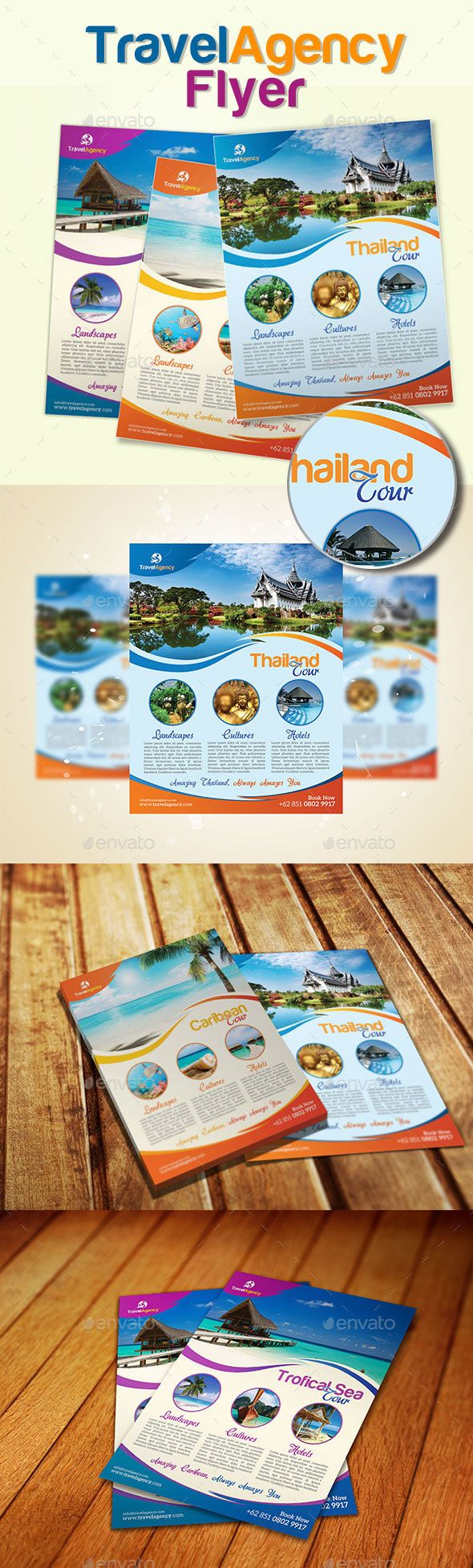 Travel Agency Flyer 3 Color by EyestetixStudio Feature : Easy Customizable300DPI CMYK Color Profile Letter (8.511)   0.25 Bleed Area 3 Psd Files Print Ready Format Smart Object