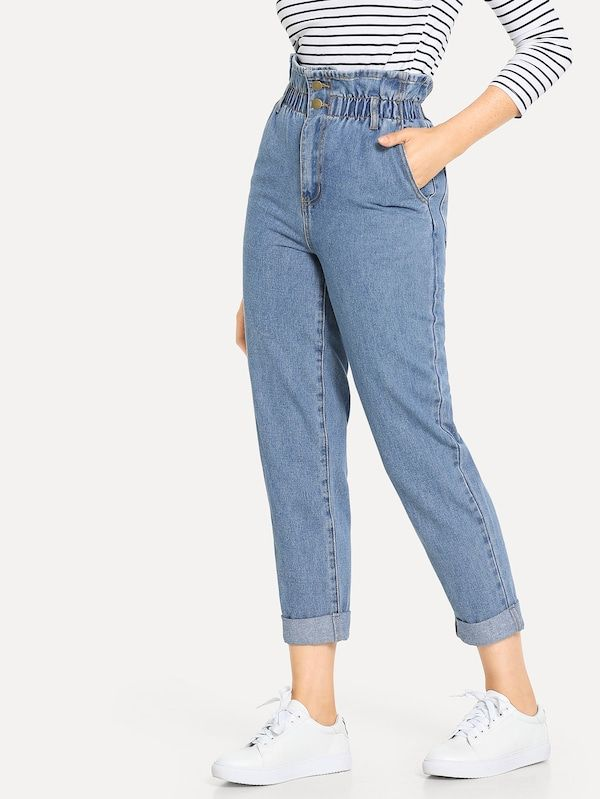 Vaqueros De Cintura Alta Fruncido Bajo De Doblez Pantalones De Moda Jeans De Moda Ropa