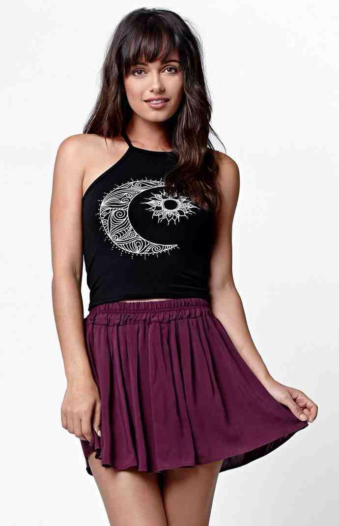 Hooked on Moon & Sun Goddess Neck Cropped Muscle Tank Top