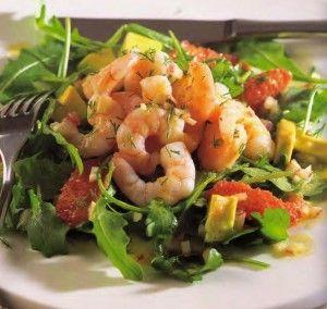 Healthy low calorie recipe for Avocado Grapefruit Shrimp Salad