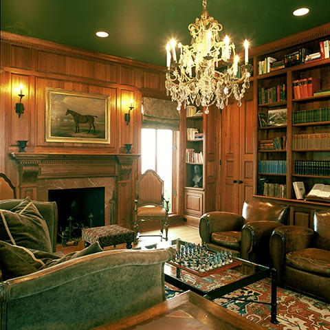 Mona Hajj ~ Library   Perfect With Dark Green Ceiling