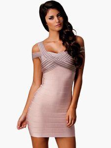 Nylon bicolor Bodycon vestido para las mujeres