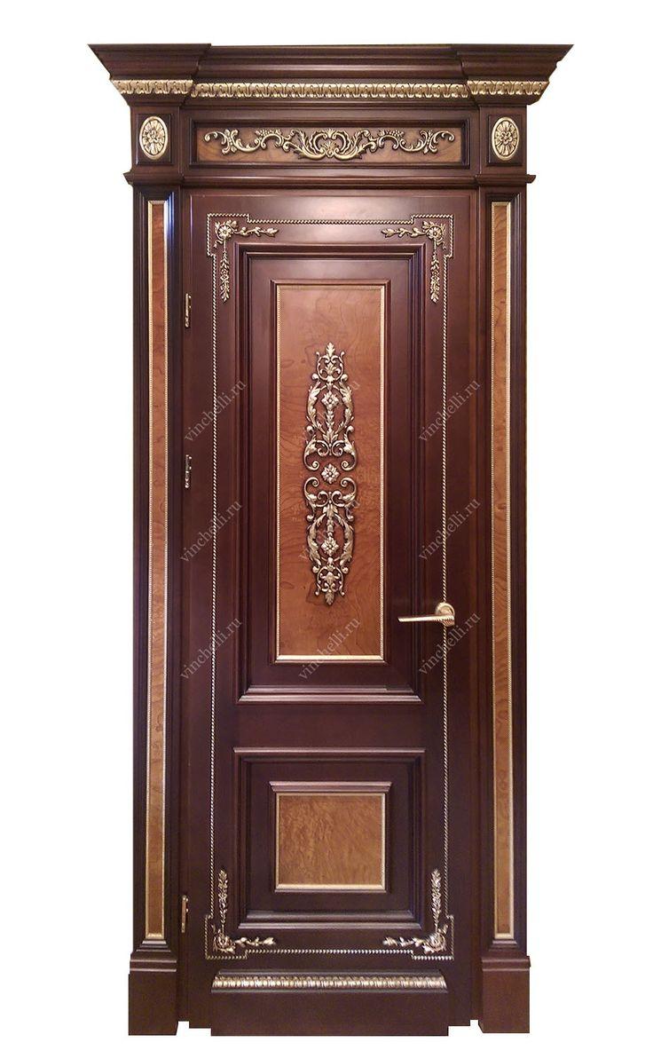 Дверь из массива с корнем каштана, резной карниз - Винчелли