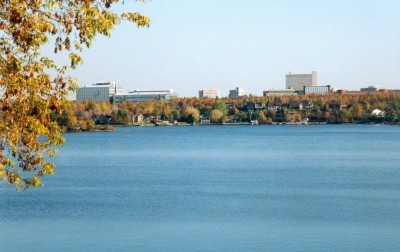 VIew from Bell Park on Ramsey Lake, looking towards Laurentian University and the Ministry of Northern Development & MInes Building.