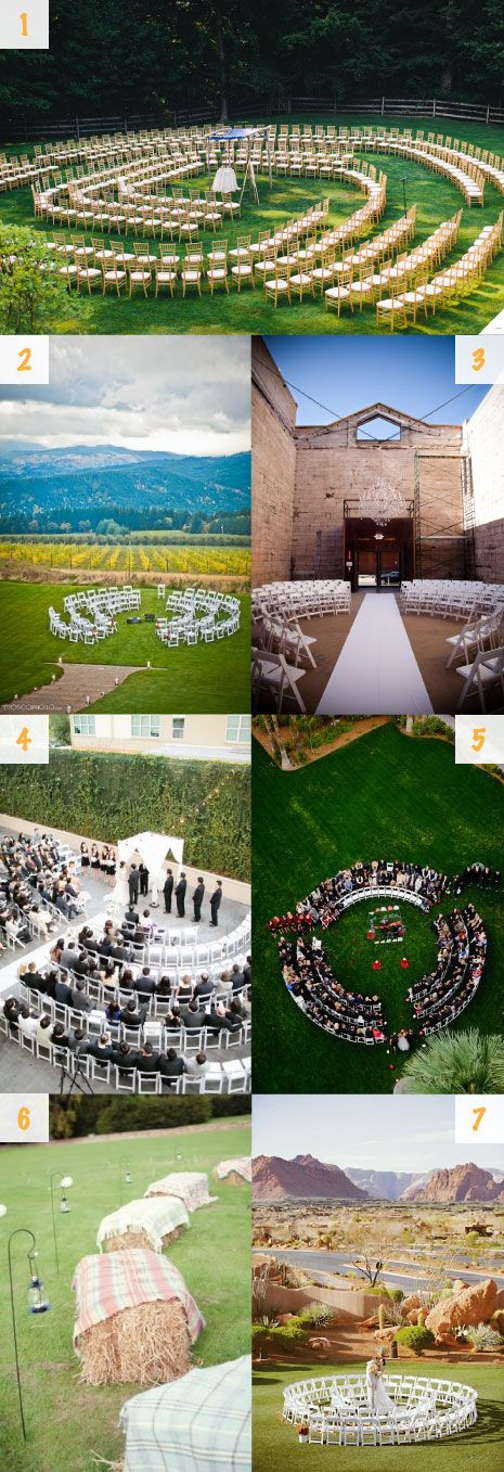 Circular wedding ceremony seating (I especially like the half circle seating!)