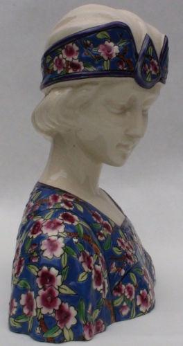 Superb art deco female bust - French artistic enameling Longwy style