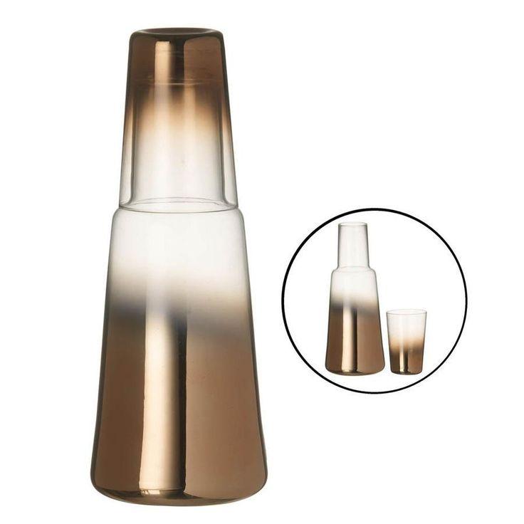 Copper Glass Bedside Water Jug