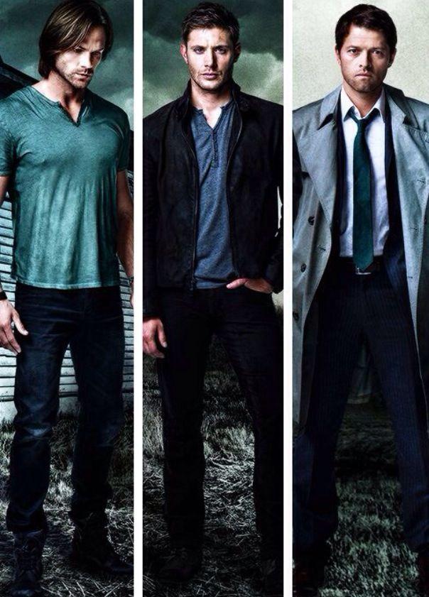 Jared Padalecki, Jensen Ackles and Misha Collins.  Sam Winchester, Dean Winchester, Castiel.  Supernatural.