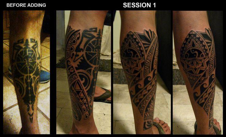 Polynesian Tribal Leg Tattoo Designs Polynesian tribal leg by camsy