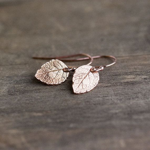 Tiny Rose Gold Leaf Earrings / Mini Leaves in 24K Rose by burnish, $25.00