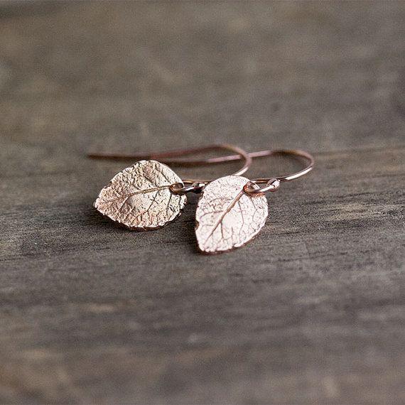Tiny Rose Gold Leaf Earrings / Mini Leaves in 24K Rose by burnish, $25.00