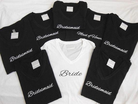 8 V-Neck Bridesmaid T-Shirts. Set of 8 Bridal by BrideBikini