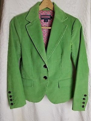 Vineyard Vines Womens Lime Green Corduroy Tailored Jacket Sz Small Turtle Lining