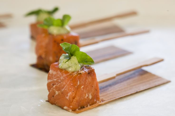 Cedar Baked Salmon #culinarycapers #canape #horsdoeuvre #catering http ...