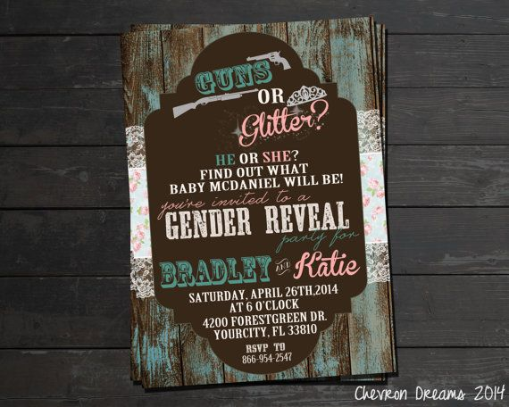 Hey, I found this really awesome Etsy listing at https://www.etsy.com/listing/185597304/guns-or-glitter-gender-reveal-invitation