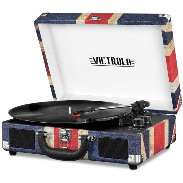 Victrola Suitcase Bluetooth Record Player (1,115 MXN) ❤ liked on Polyvore featuring uk flag