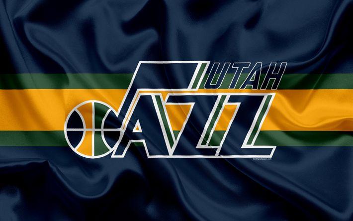 Download wallpapers Utah Jazz, basketball club, NBA, emblem, new logo, USA, National Basketball Association, silk flag, basketball, Salt Lake City, Utah, US basketball league, Northwestern Division