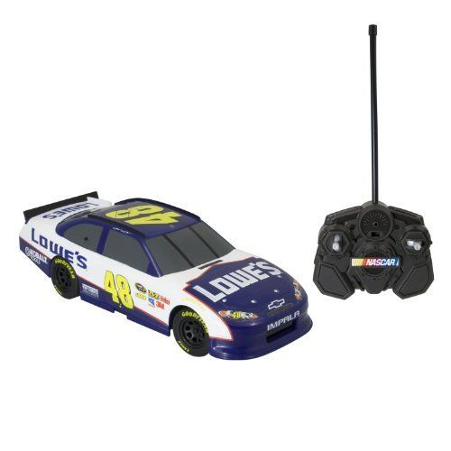 NASCAR Radio Control 1:24th Replica Jimmy Johnson (Lowes) 27Mhz Ch B by NASCAR. $38.82. From the Manufacturer                Experience the thrill of NASCAR as you step behind the wheel of a full function 1:24th R/C stockcar. Each car features a race-inspired design and has a range of up to 30' Choose from Dale Earnhardt Jr (Amp Energy or National Guard), Tony Stewart (Office Depot) and Jimmy Johnson's (Lowe's) cars and create your own starting grid. These cars have multiple...