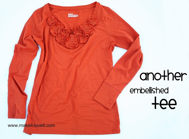 Embellished Tee: with Multi-Layered Flowers   Make It and Love It