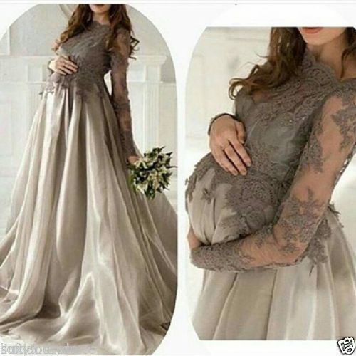 Awesome Great 2017 Sheer Lace Maternity Evening Dresses Long Sleeve Appliques Prom Party Gown  Cool Check more at http://24myshop.ml/my-desires/great-2017-sheer-lace-maternity-evening-dresses-long-sleeve-appliques-prom-party-gown-cool/
