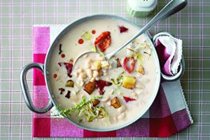 Wittebonensoep met groentecroutons - foodies