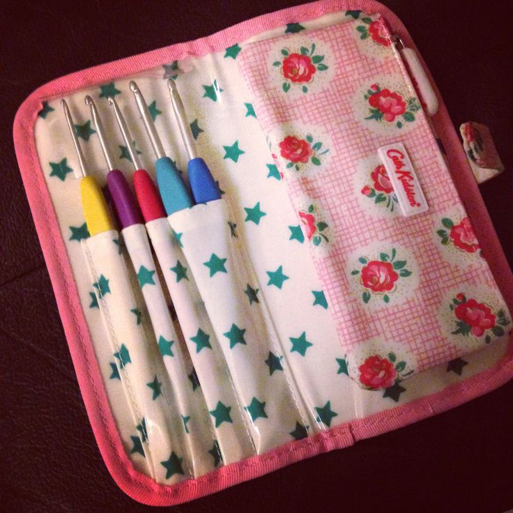 Crochet on the move! Cath Kidston make up brush case. Brush holders now hold crochet hooks and the zip case has scissors , needles and stitch markers.