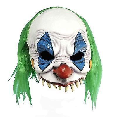 Evil Clown Mask Costume Accessory Adult Halloween Scary Killer Green Wig Mens
