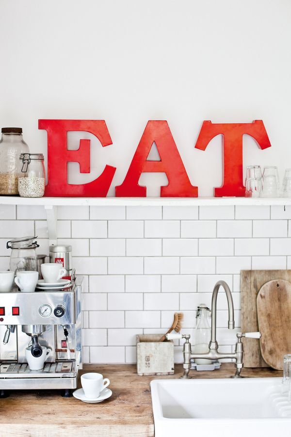 : Idea, Kitchens Design, Butcher Blocks, Countertops, Interiors Design, Eating Signs, Red Kitchens, White Subway Tile, Letters