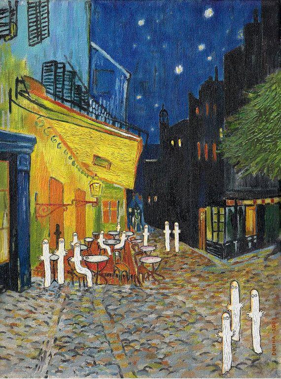 "EasyElsie Esty: Moomin Van Gogh crossover ""Hattigogh"" Painting 27 x 31 cm unframed $43"