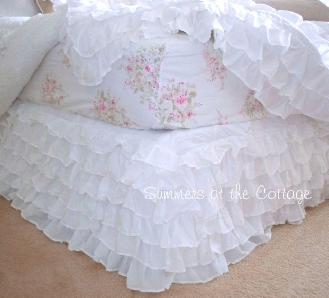 DREAMY WHITE SHABBY COTTAGE CHIC ROMANTIC HOMES RUFFLED BED SKIRT KING