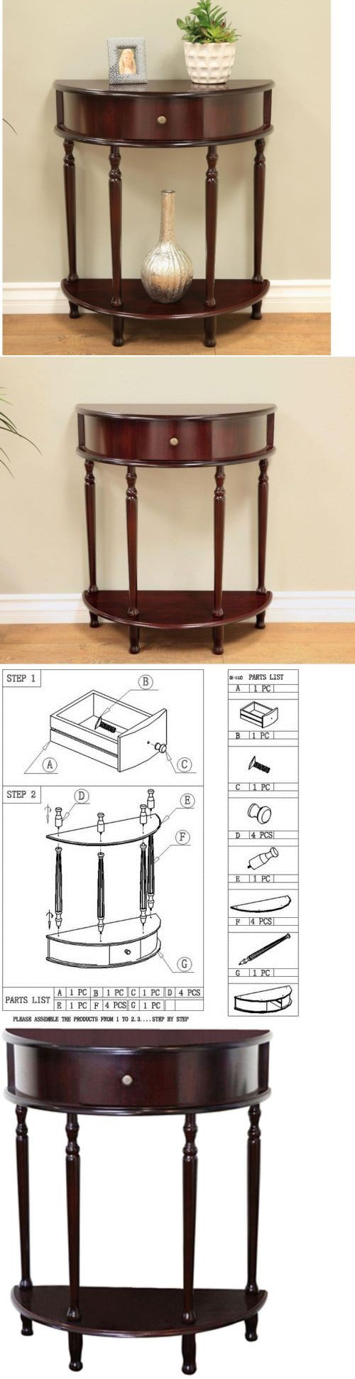 Tables 38204: Cherry Storage End Table Side Stand Furniture Drawer Hallway Console Entryway -> BUY IT NOW ONLY: $61.21 on eBay!