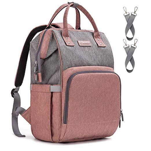 Grau Baby Wickelrucksack Wickeltasche mit Wickelunterlage Multifunktional Gro/ße Kapazit/ät Babytasche Reisetasche USB-Ladeanschluss f/ür Unterwegs