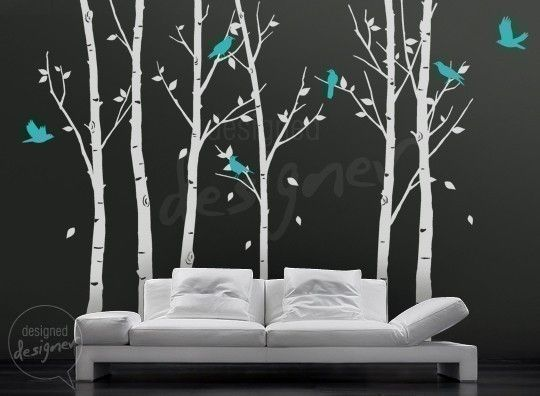 Bedroom Wall Painting Tree : Vinyl wall decal sticker art birds in the urban forest