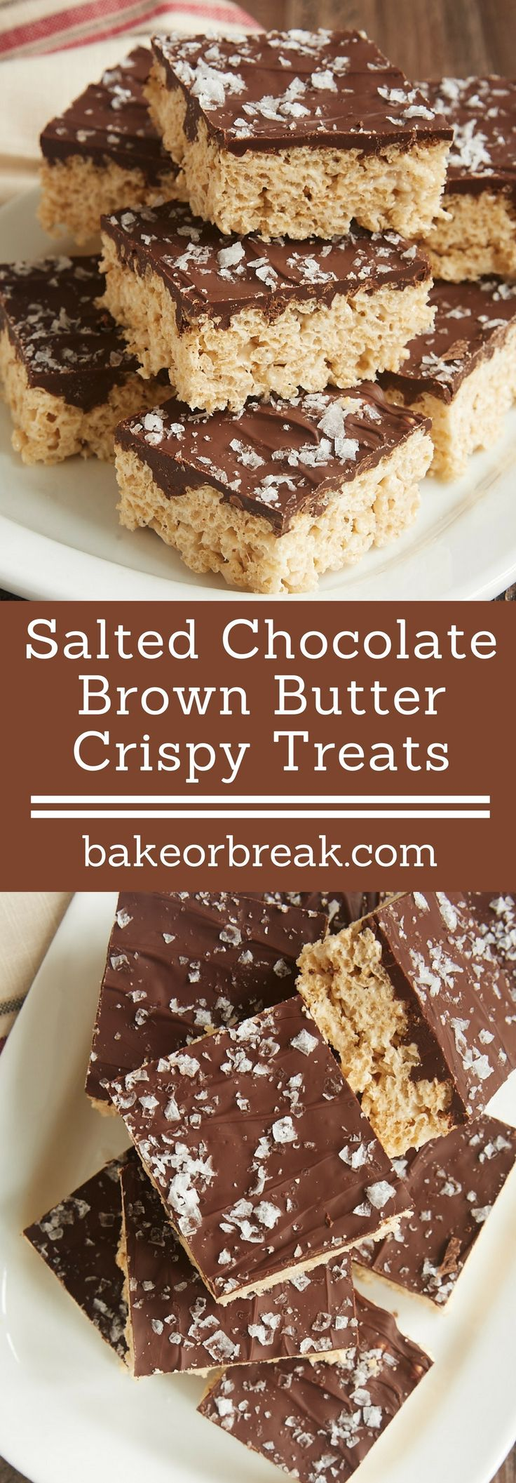 Salted Chocolate Brown Butter Crispy Treats are not your childhood crispy treats. They take that timeless classic dessert and turn them into a delicious dessert with grown-up flavors. - Bake or Break