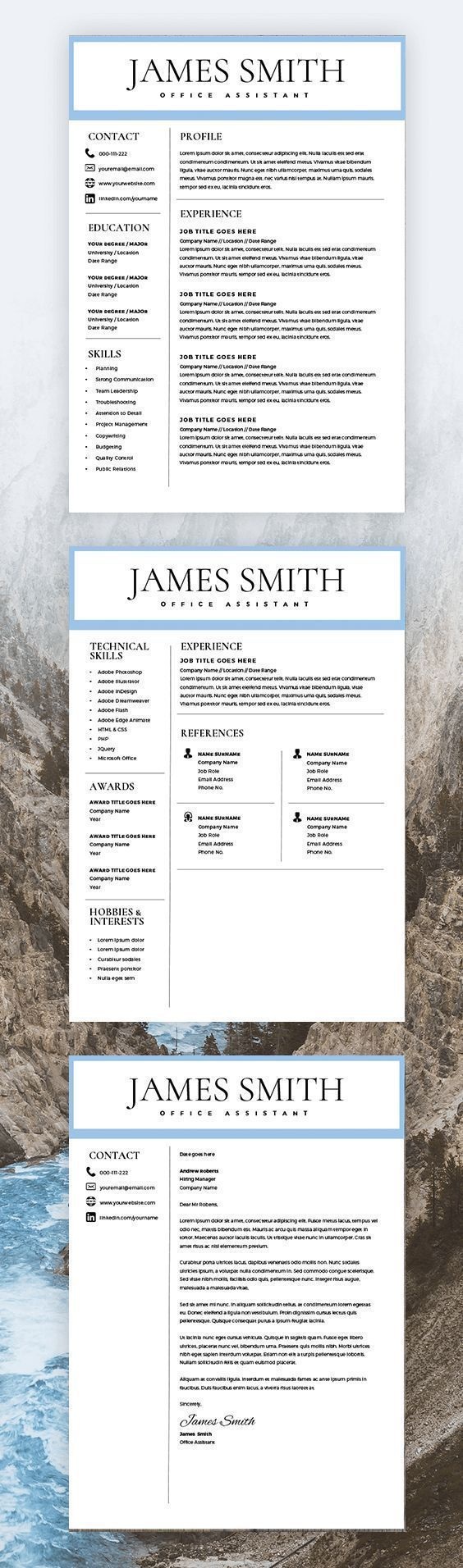 Resume Template for Men - Writer Resume Template for Word & Pages - 2 Pages Resume - Cover Letter - Curriculum Vitae - Instant Download - CV
