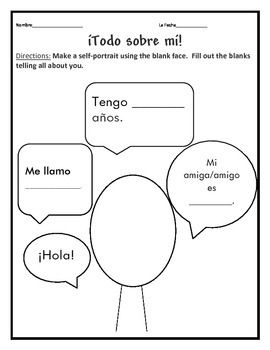 Have your students create a self portrait on the first day of Spanish class and tell a little about themselves.  I love to hang these on our first bulletin board of the year.  #maestras
