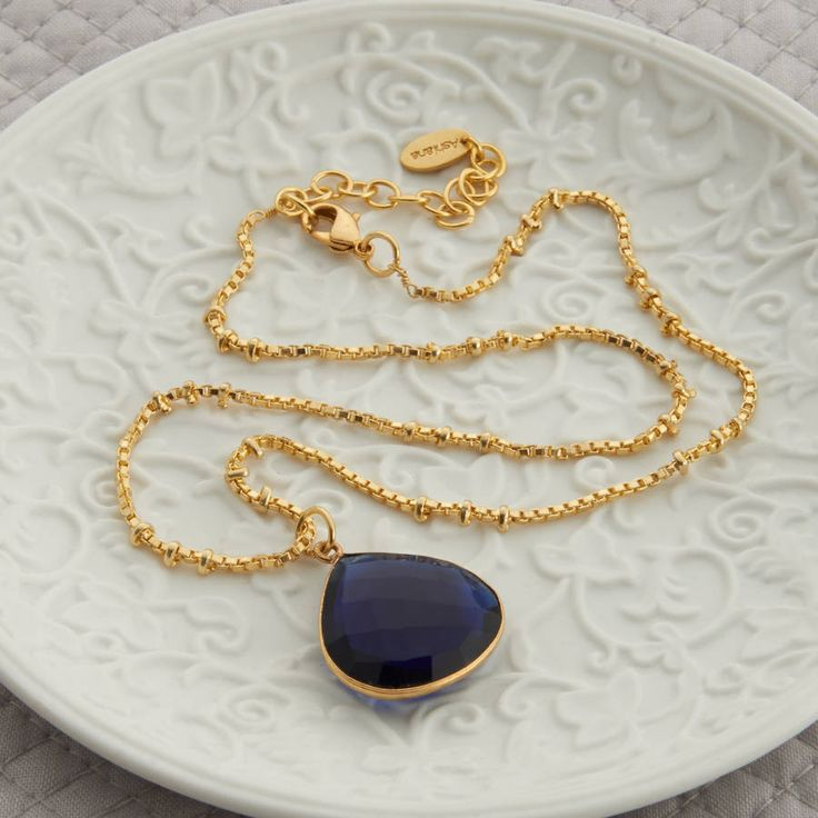 gold and blue iolite drop necklace by ashiana for hurleyburley   notonthehighstreet.com